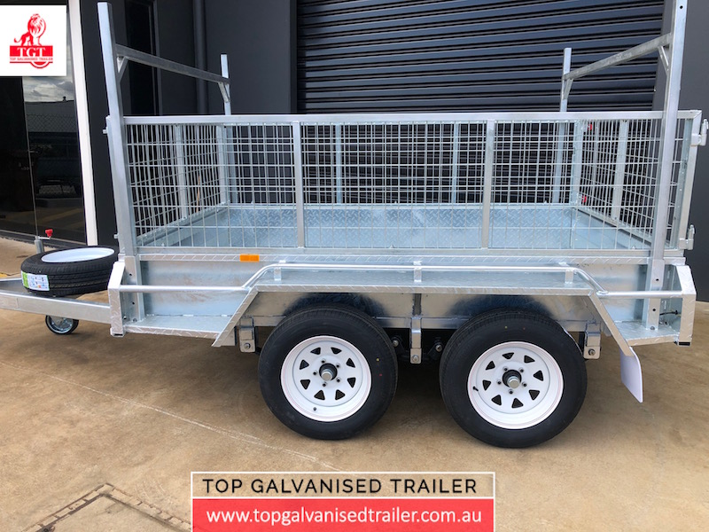 8x5 Tandem trailer fully welded ladder racks with 600mm cage
